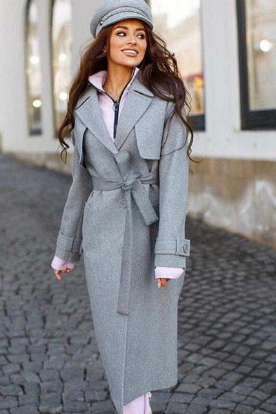 Пальто весеннее женское серое