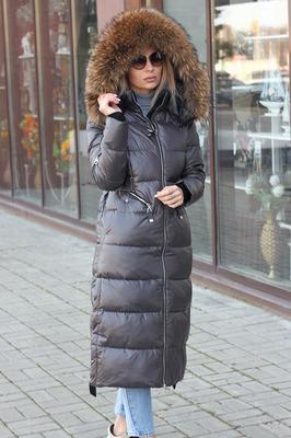 Длинный зимний пуховик оверсайз черный