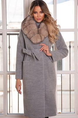 Пальто женское кашемировое длинное с мехом серое