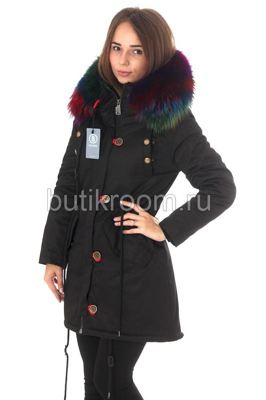 Женская куртка парка с цветным мехом в интернет магазине