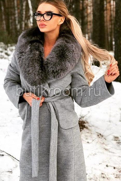 Пальто с чернобуркой зимнее серое
