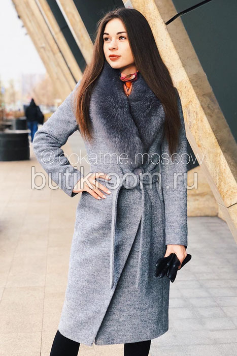 Элитное пальто из кашемира с песцом серое