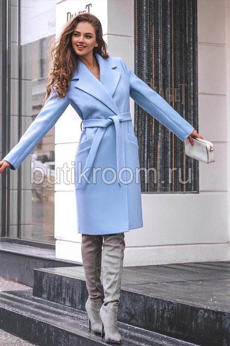 Демисезонное пальто для девочки голубое