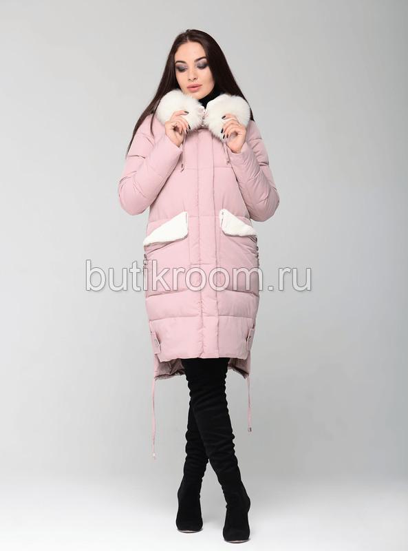 Розовая куртка-парка с капюшоном зимняя