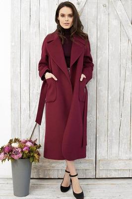 Длинное пальто в пол женское бордовое