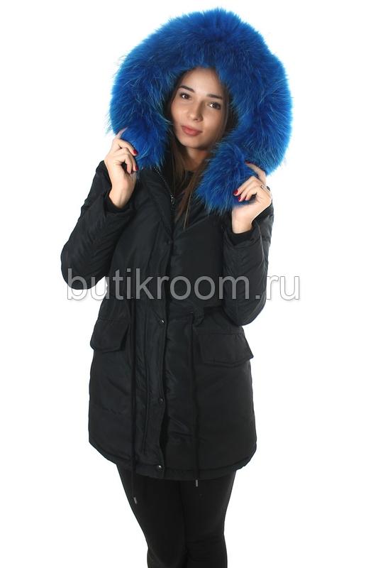 Теплая зимняя куртка с цветным мехом