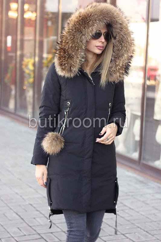 Модная пуховая аляска 2019-2020 черная