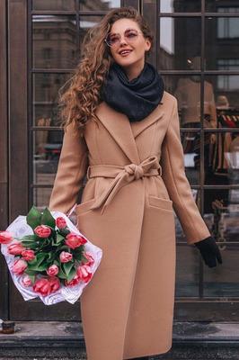 Пальто женское кашемировое бежевое
