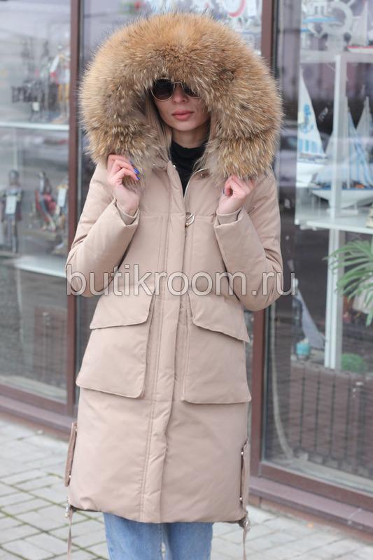 Стильный пуховик-парка с капюшоном зима