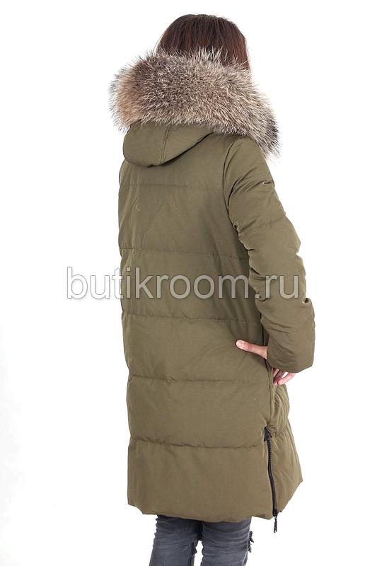 Зеленая пуховая куртка Canada goose с мехом