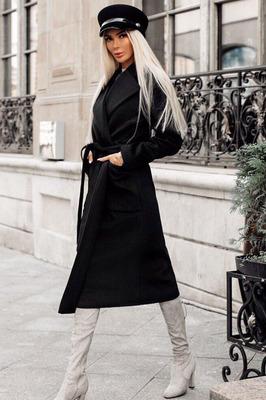 Шерстяное весеннее пальто черное