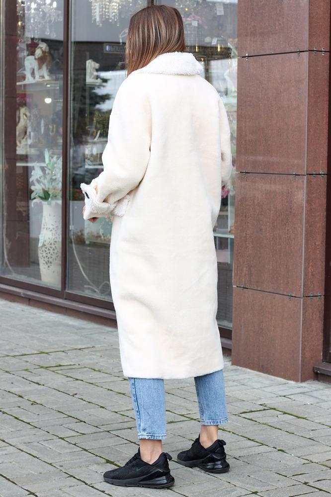 Длинная эко шуба из шерсти белая