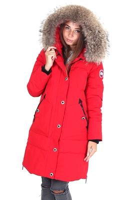 Красная женская аляска Канада Гус с натуральным мехом в Москве