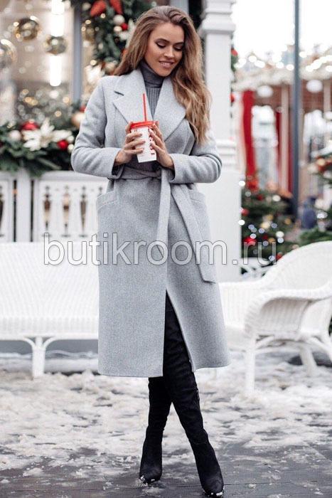 Длинное теплое пальто серое