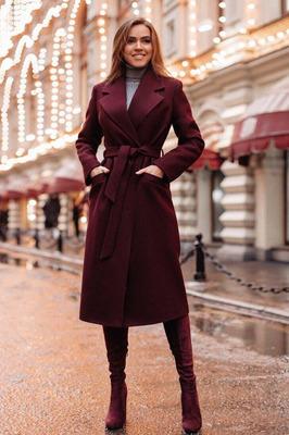Шерстяное модное пальто цвет бордо