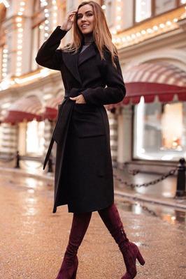 Осеннее пальто длинное женское классика черное