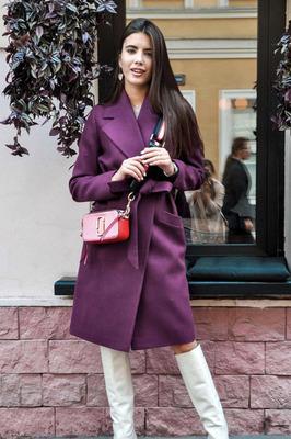 Весеннее пальто длинное в пол женское фиолетовое