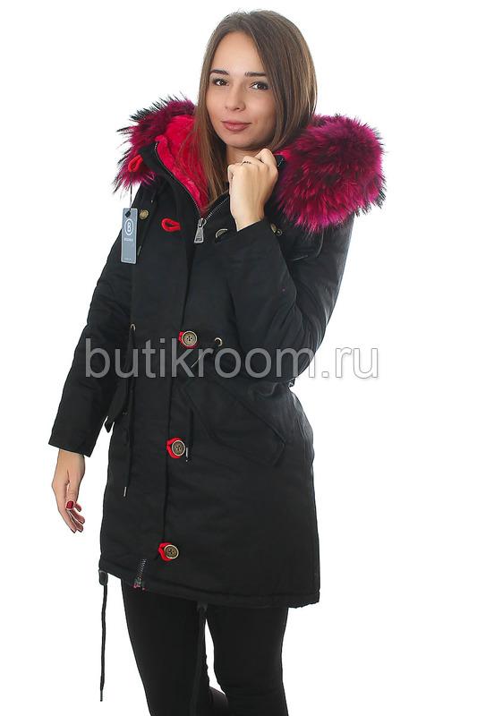 Недорогая женская куртка парка с розовым мехом