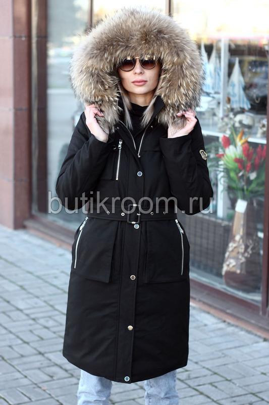 Женский зимний пуховик с натуральным мехом цвет хаки