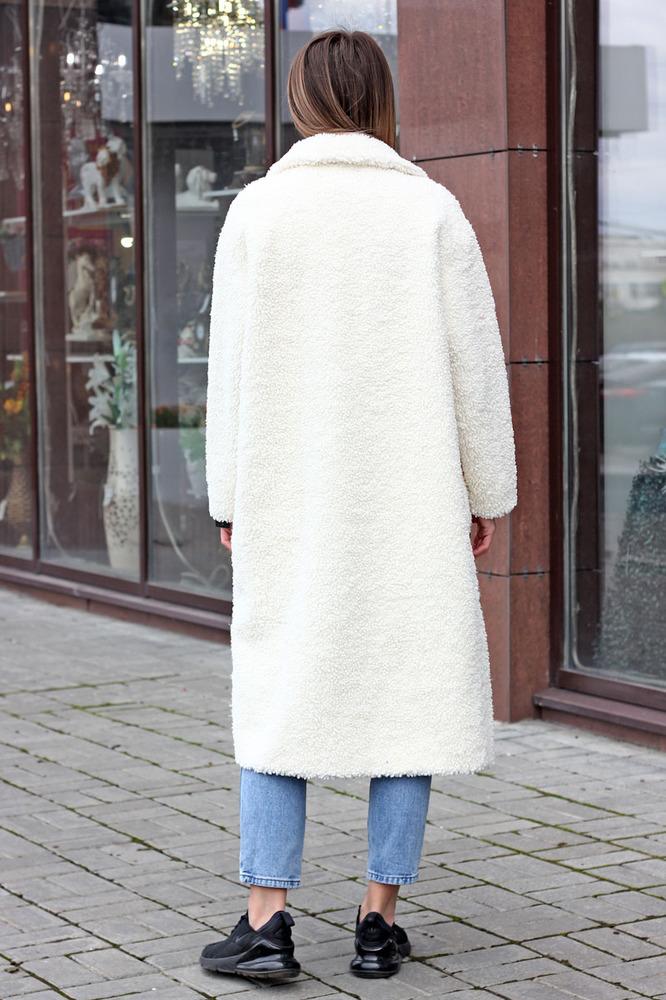 Длинная экошуба из шерсти белая