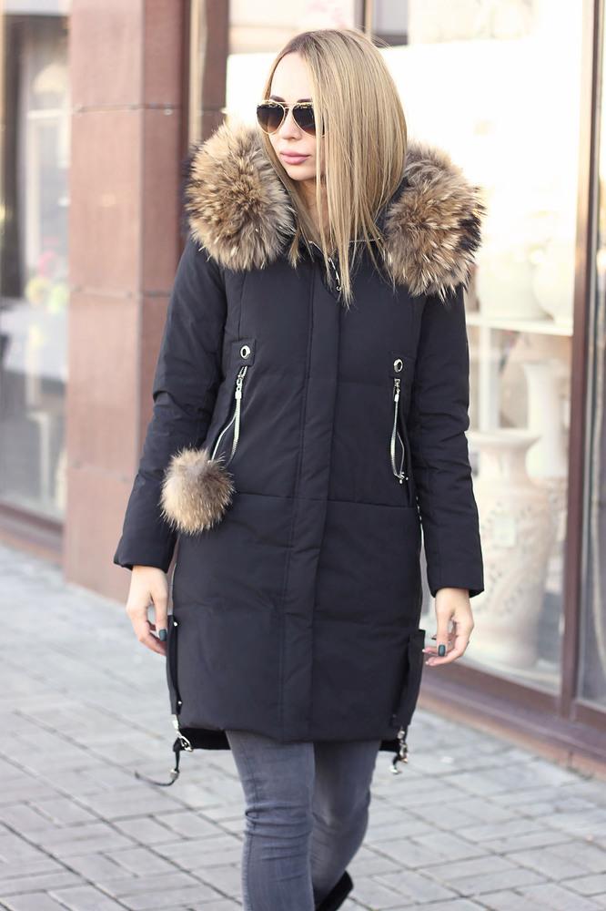 Модная пуховая аляска 2021-2022 черная